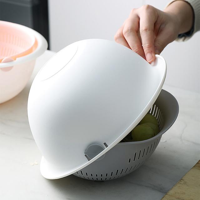 Kitchen Drain Basket Bowl Rice Washing Colander Basket Strainer Noodles Vegetable Fruit Double Drain Storage Basket Kitchen Tool