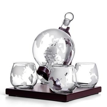 Z-NING Creative Glass Wine Set Glass Wine Bottle Whisky Glass Red Wine Decanter Home Kitchen Brandy Glass Bar Decoration 8