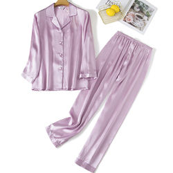 Pijamas para mujer Pijamas 100% seda pura 19 camisón mm traje de noche ropa de casa 2 unids/set