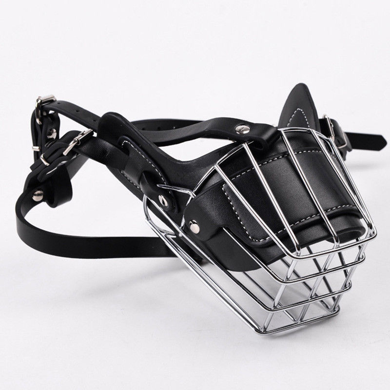 Large Dog Adjustable Metal Basket Muzzle Anti-bite Wire Basket Leather Mouth Cover Bark Chew Muzzle Pet Breathable Safety Mask