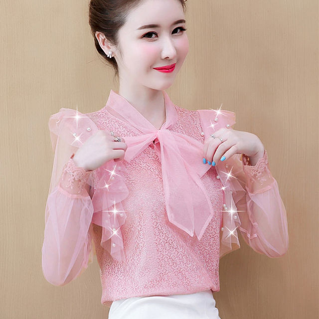 Women's Spring Summer Style Lace Blouses Shirt Women's Mesh Bow Solid Color Long Sleeve V-neck Elegant Tops SP054 3
