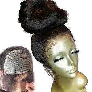 Image 1 - Eseewigs משי בסיס מלא תחרת שיער טבעי פאות טבעי תינוק שיער סביב מראש קטף שיער קו משיי ישר ברזילאי רמי שיער