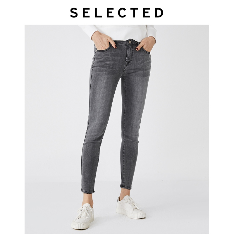 SELECTED Women Stretch Cotton Denim PantS Washed Faded Skinny Jeans I|419332515