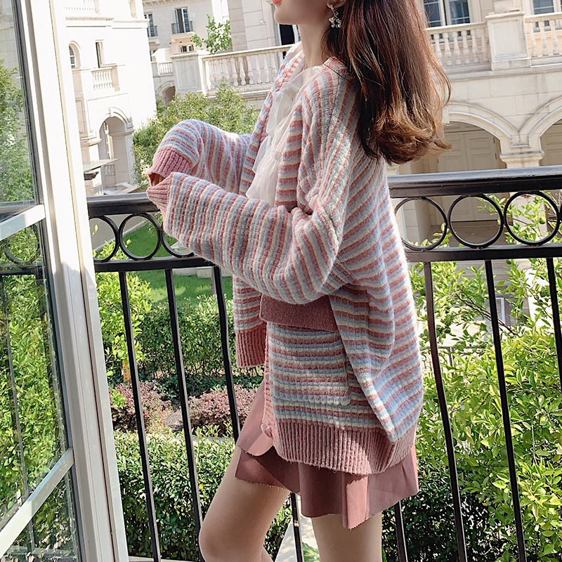 MISHOW 2019 Autumn Stripe Pink Knit Cardigan Women Vneck Long Sleeves With Pocket Knit Coat Tops Out Wear Coats MX19C5240