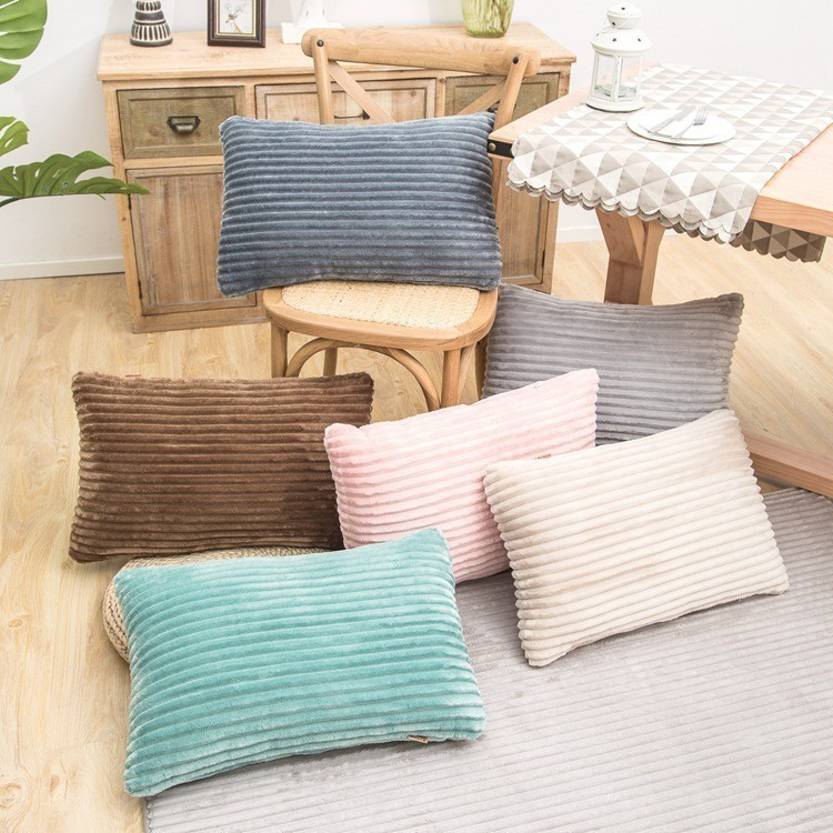 Striped Flannel Rectangular Square Pillowcase Solid Pillow Case Velvet Cover For Chair Home Living Room Decorative 38x60 45x45cm