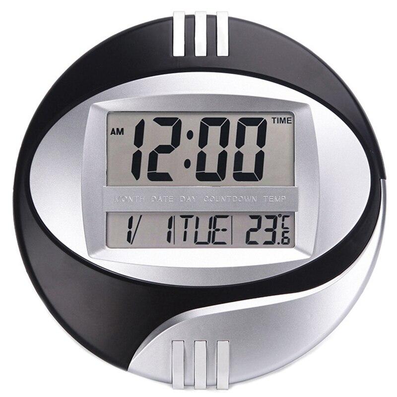 Цифровые настенные электронные часы с температурным дисплеем, ЖК дисплей, современный календарь, светодиодный кронштейн, бесшумные часы для украшения дома и офиса|Настенные часы|   | АлиЭкспресс