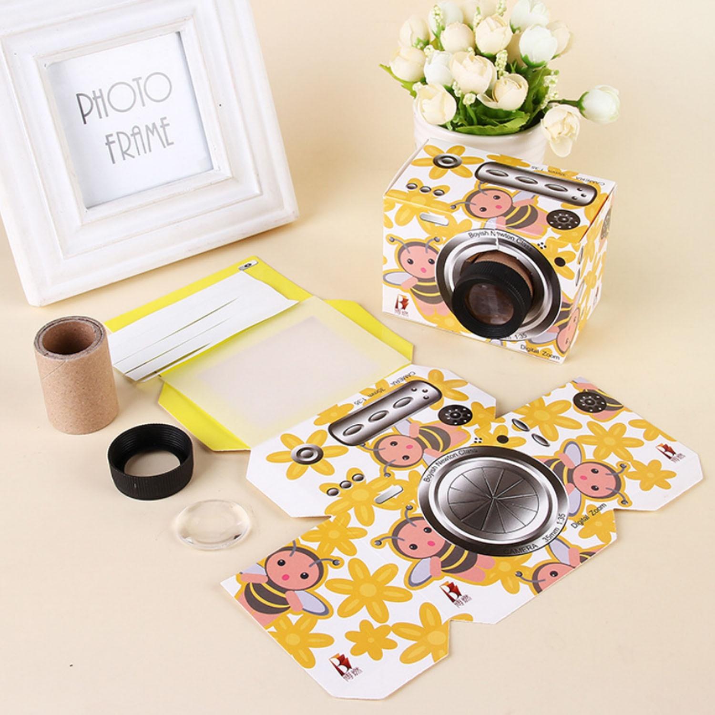 Kids Cute Cartoon DIY Origami Camera Folded Paper Camera Model 3D Puzzle Paper Board Camera Model Handmade Paper Model Craft Toy