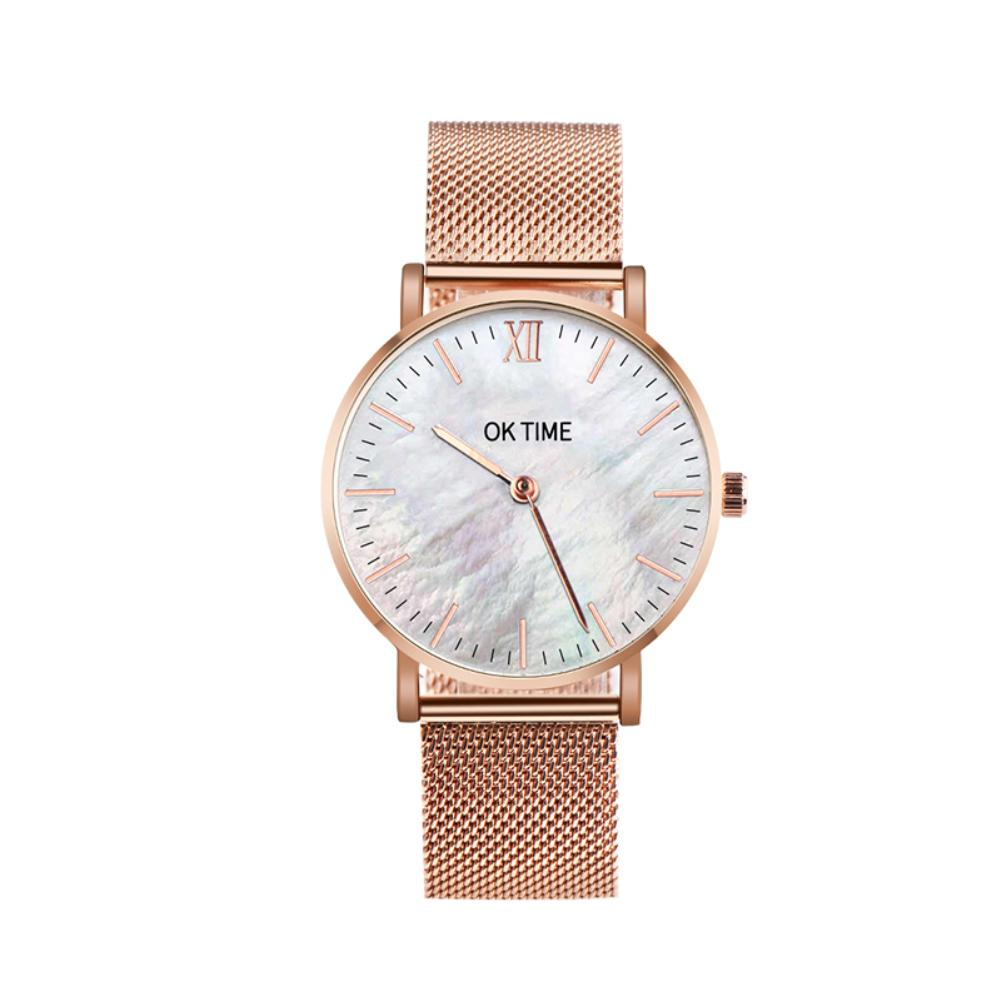 Fashion Alloy Band Seashell Color Round Dial Analog Quartz Couple Wrist Watch Men's And Women's Fashion Quartz Watches