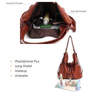 Image 3 - CEZIRA Large Washed PU Women Backpack Functional School Bag Luxury Vegan Leather Shoulder Laptop Bags Female Casual Zip knapsack