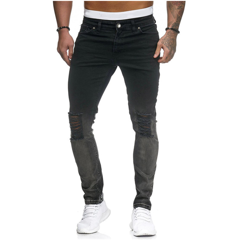 2019 New Mens Denim Jeans Fashion Patchwork Skinny Pants Slim Fit Zipper Destroyed Style Ripped Male Elastic Trousers