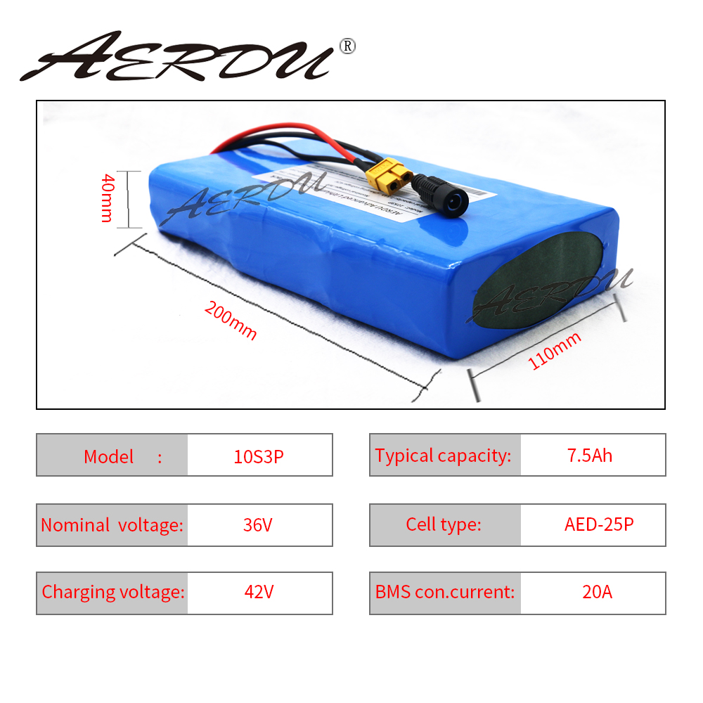 AERDU 36V 10S3P 42V 7.5Ah Ultra Thin 15A BMS High Power Capacity 18650 Lithium Battery Pack Ebike Electric Bicycle Motor Scooter
