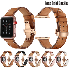 For Apple Watch Band Genuine Leather Rose Gold Butterfly Buckle Apple Watch 5 4 3 2 1 Strap for iWatch 44mm 40mm Accessories