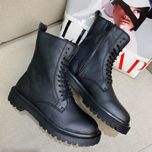 2020 Winter Mode Ronde Neus Lace-up Split Lederen Laarzen Dame Zip Enkel Westerse Boot Punk Platte Platform laarzen Vrouwen Schoenen(China)