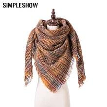 Высокое качество, модный зимний шарф, Женский вязаный клетчатый шарф, треугольный шарф, теплая одежда, аксессуары 200*135*135 см