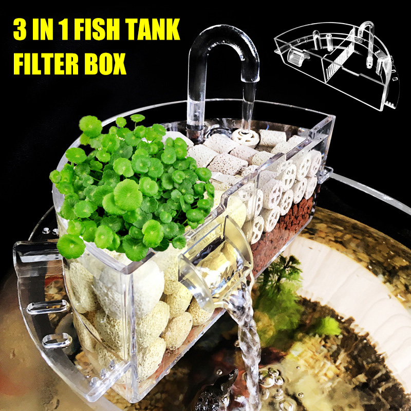 <font><b>Aquarium</b></font> External Filter Box Acrylic External Hanging Water Purifier Water filter for <font><b>Round</b></font> Fish Tank Accessories farm PI669 image