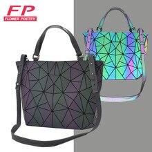 花詩バオ女性発光バケットバッグジオメトリダイヤモンドショルダーバッグカジュアル折りたたみハンドバッグの女性のメッセンジャーバッグ