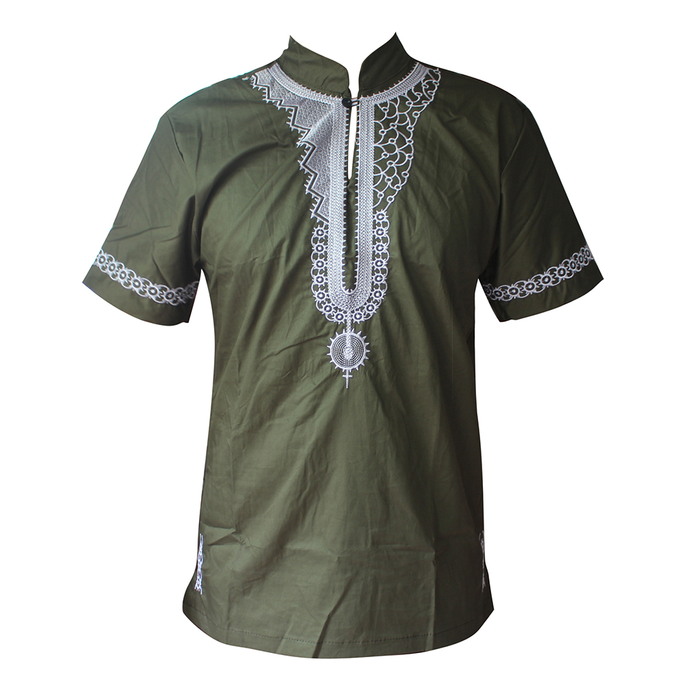 Arabic Embroidery Tops Men`s буркини T-shirt Henley Collar Muslim Chilaba Hombre Clothes Short Caftan Talit Tunic