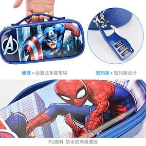 Image 5 - Marvel Captain America pencil case with password lock Spiderman Mickey school supplies large capacity multi function pencil bag