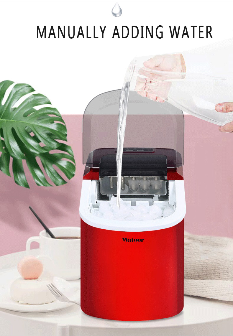 Mini Automatic Electric Ice Maker Portable Bullet Round Block Ice Cube Making Machine Small Bar Coffee Shop 15kgs/24H EU