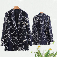 Chain Print Women Twill Blazers 2019 Spring-Autumn Womens Cardigan Suits Ladies Minimalist Girls Boho Set Tops Clothes