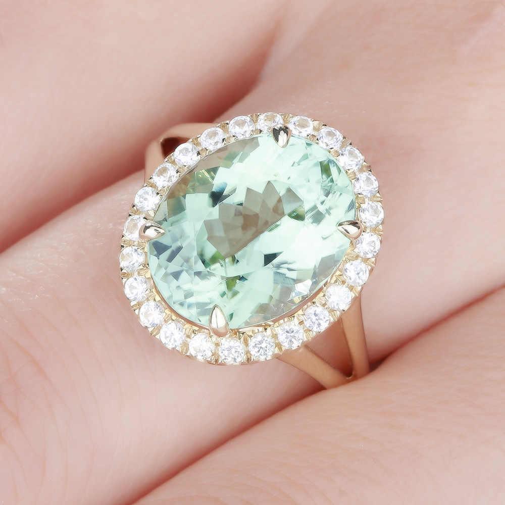 หญิงหรูหราคริสตัลรูปไข่ขนาดใหญ่แหวนหินน่ารักงานแต่งงาน Finger แหวนสัญญาหมั้นแหวน