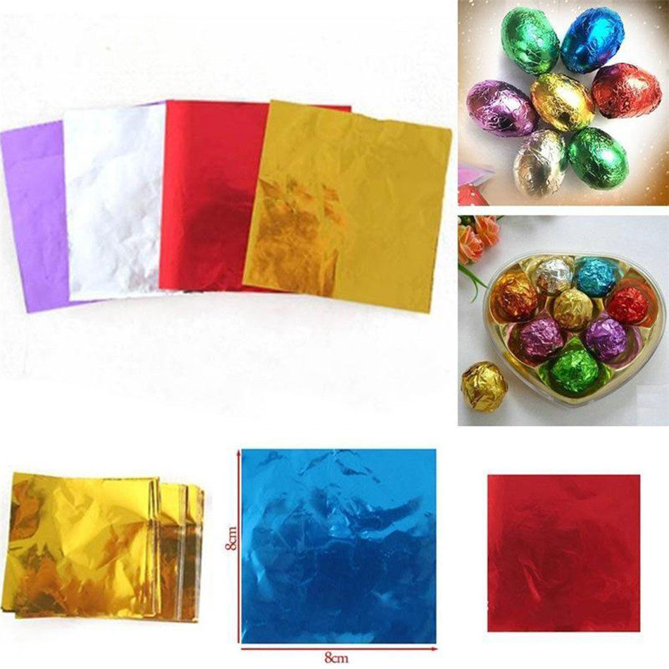 TTLIFE 100Pcs Food Aluminum Foil DIY Chocolate Candy Package Paper Gift Box Candy Package Foil Paper Wrapping 5 Bright Colors