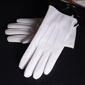 Image 3 - الرجال جلد طبيعي جلد حقيقي الشتاء الدافئة الأبيض قصيرة قفازات