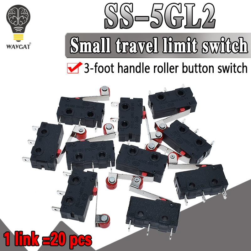 20pcs/lot New Micro Roller Lever Arm Normally Open Close Limit Switch KW12-3 Free Shipping