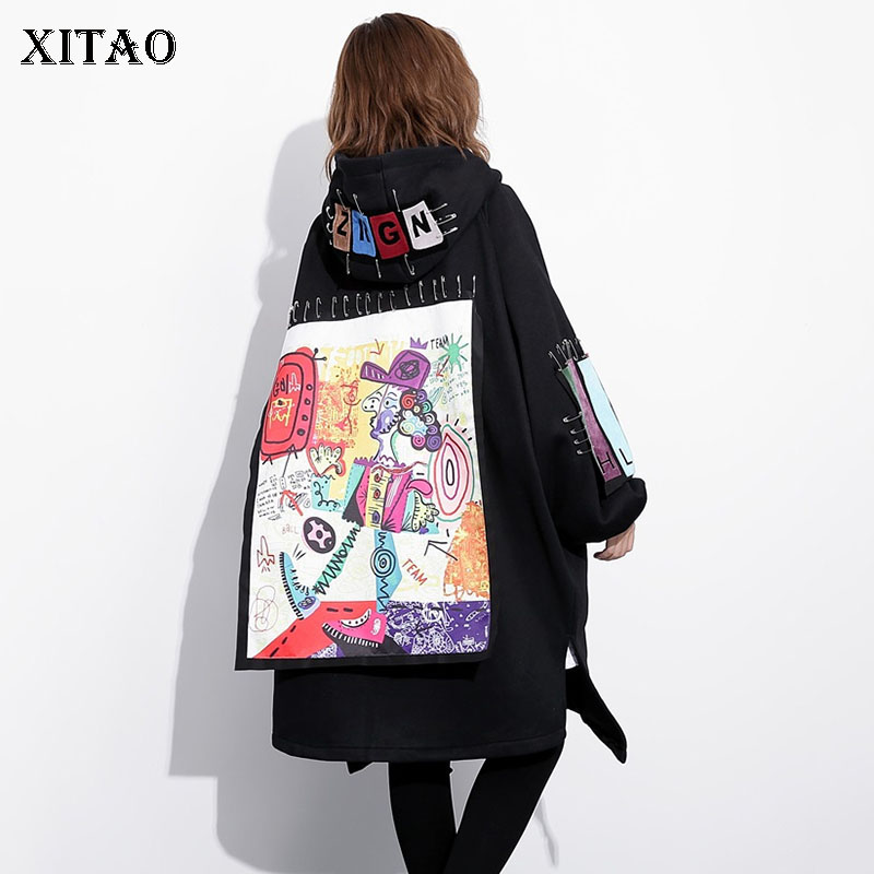 XITAO Letter Pattern   Trench   Women Fashion New 2019 Autumn Wide Waist Hooded Collar Plus Size Split Casual Coat Top GCC2460
