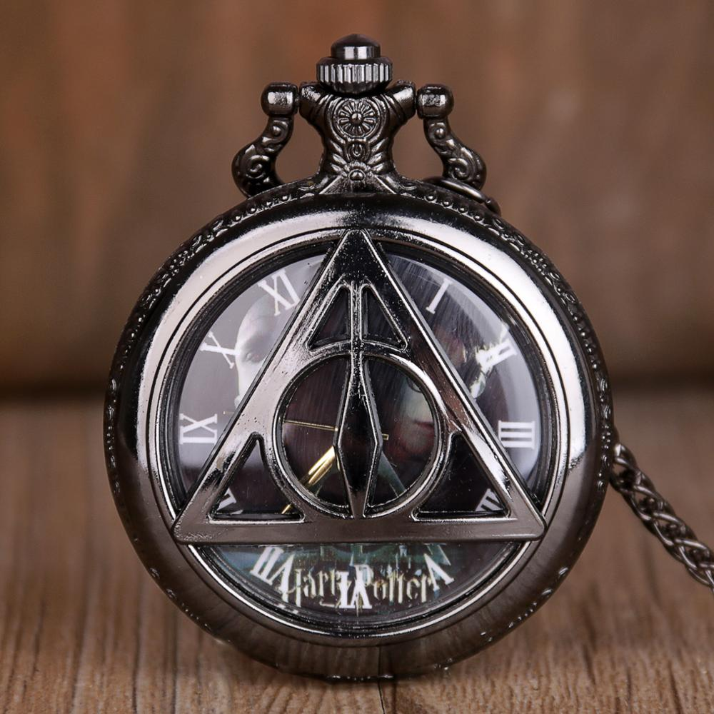 New Arrival Men Quartz Watches Necklace Pocket Watch For Mens Vintage Black Design Antiuqe Necklace Fob Chain Clock Relogio Gift