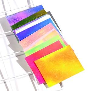 Image 4 - 16 Tờ/Bộ Aurora Ngọn Lửa Miếng Dán Móng Tay Toàn Phương Nhiều Màu Sắc Lửa Phản Xạ Tự Dán Các Lá Tự Làm Móng Tay Nghệ Thuật Trang Trí miếng Dán Kính Cường Lực