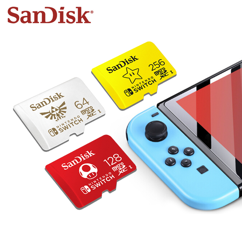 SanDisk-tarjeta MicroSD 256GB para Nintendo Switch, tarjeta de memoria de 64gb TF de alta velocidad de 128G con tema de Mario