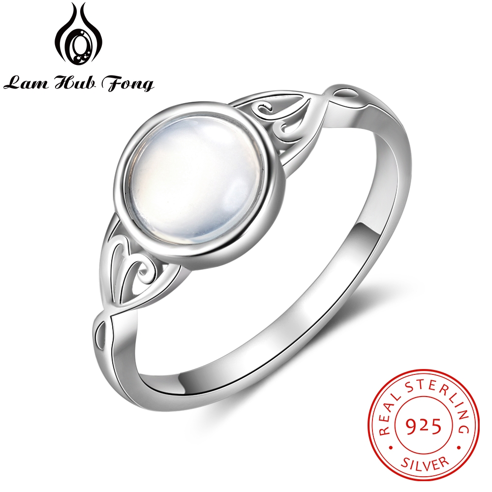 925 Sterling Silver Charm Moonstone Rings For Women Victorian Style Round Female Ring Fine Jewelry Gift For Wife (Lam Hub Fong)