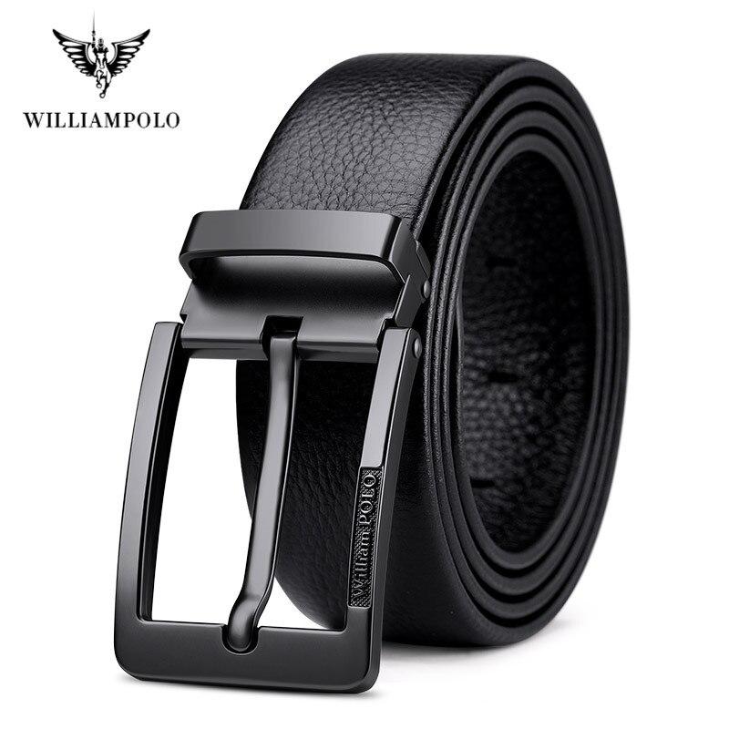 WilliamPolo brand design New casual business fashion Belt full grain leather Belt Silvery Belt Mens belt Pin Buckle Waist BeltMens Belts   -
