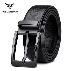Image 1 - WilliamPolo brand design New casual business fashion Belt full grain leather Belt Silvery Belt Mens belt Pin Buckle Waist Belt