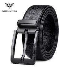 Williampolo marca design novo negócio casual moda cinto completo grão cinto de couro prateado cinto masculino cinto fivela cinto