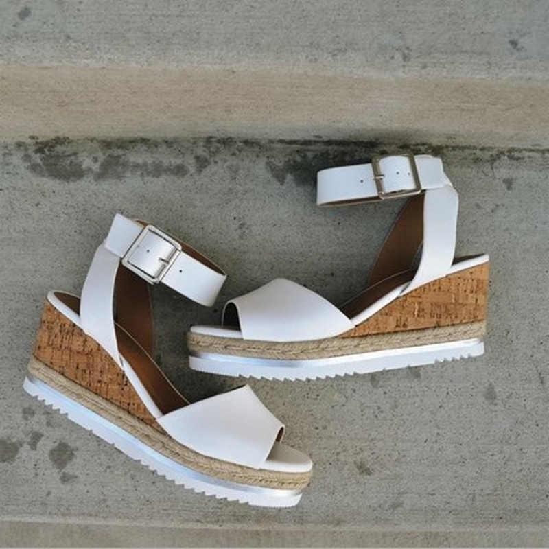 Yaz kadın PU deri ayak bileği toka kayış sandalet kadın ayakkabı bayanlar Peep toe arkası açık iskarpin yüksek topuk kadın rahat platformu