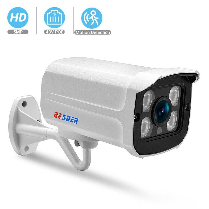 Cámara BESDER H.265 SuperHD 5MP 3MP 2MP IP PoE 4 Uds Array LEDs visión nocturna 25M Cámaras de Vigilancia al aire libre P2P detección de movimiento SDETER 1080P Mini cámara inalámbrica WiFi, cámara de seguridad IP CCTV, visión nocturna IR, detección de movimiento, Monitor de bebé P2P