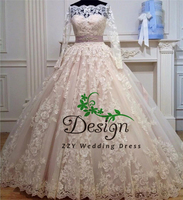 Atractive Off The Shoulder Champange Ball Gown Illusion Sash Beading Bride dress For Wedding Custom Made Perfect Wedding Gown