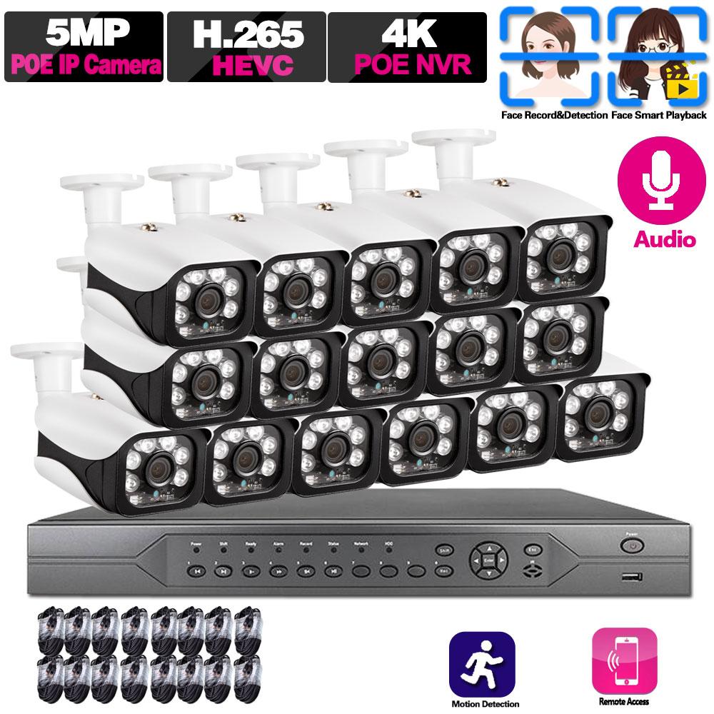 16CH 5MP NVR POE 5MP Kit de cámara al aire libre 5MP cámara IP PoE registro de Audio Onvif FTP sistema CCTV Kit de videovigilancia impermeable ANRAN AHD CCTV sistema 2MP DVR Sistema de videovigilancia, cámara de seguridad exterior HDD impermeable visión nocturna P2P HDMI