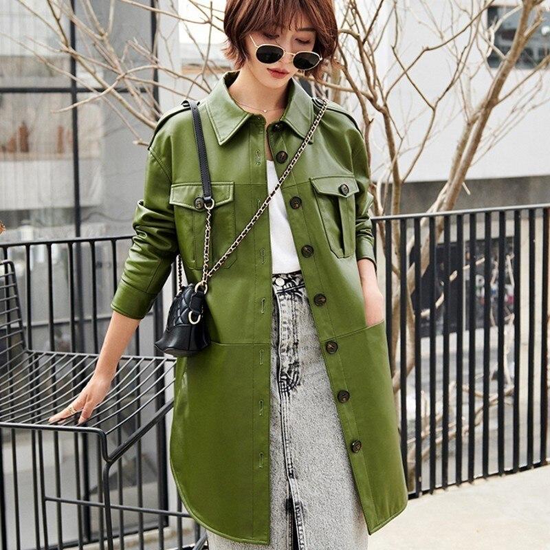 Ladies Slim Fit Qualites Sashes Sheepskin Trench Coats Fashion Single Breasted Pockets Genuine Leather Medium Length Overcoats