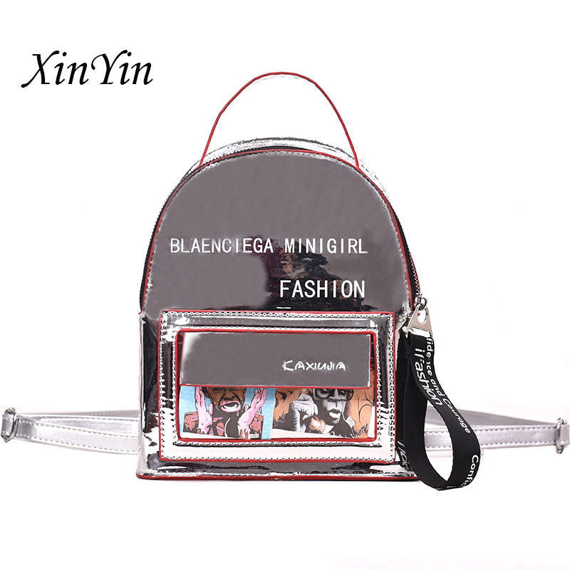 Laser Mirror Letter Mini Backpack Women Fashion Clear Bags Ladies Luxury Backpack 2019 Crossbody High Quality Student Bag