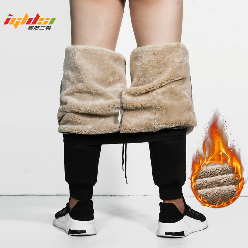 Men's Winter Fleece Cashmere Velvet Thicken Joggers Cargo Pants Men Warm Long Trousers Sweatpants Male Elastic Waist Trousers