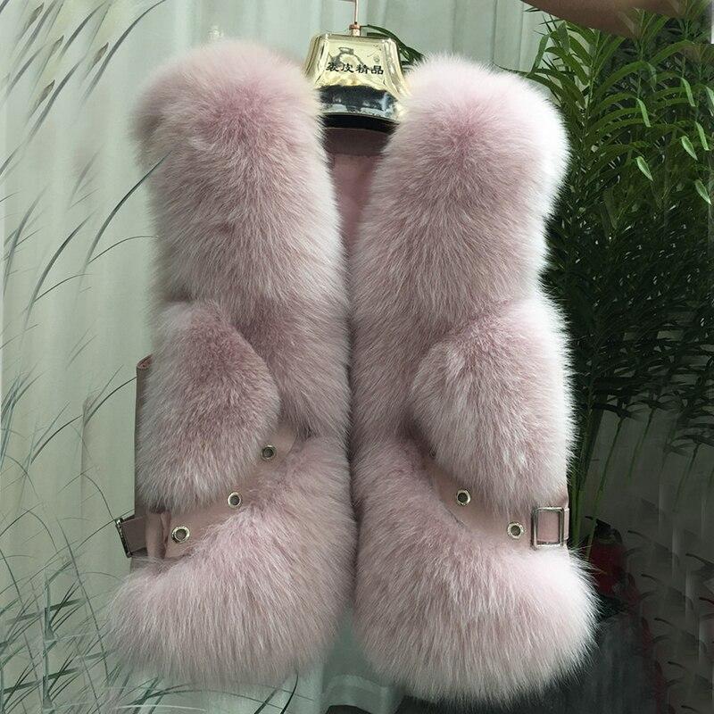ZDFURS*Natural Real Fox Fur Vest Waistcoat Short Sleeveless Vestwoman Winter Warm Natural Fur Vest Real Fur Jacket Fox Fur Coats