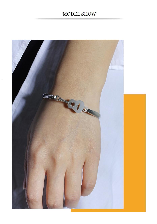 Vnox Elegant Guitar Bracelet Stainless Steel Music Jewelry