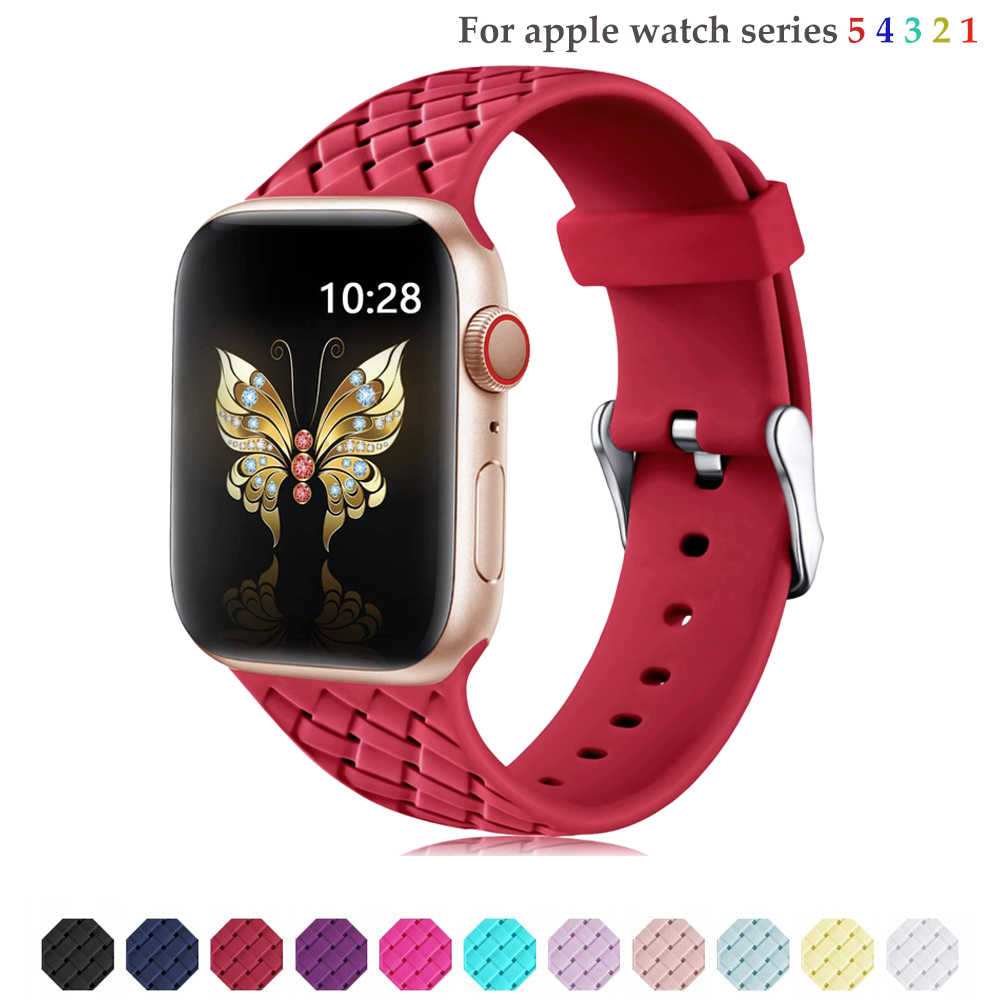 Örgü Için Silikon Kayış apple watch 5 4 bant 44mm 40mm iwatch 3 band 42mm 38mm bilezik watchband apple watch serisi 4 5 3 2 1
