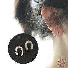 Boucles d'oreilles en forme de U en forme de fer à cheval pour femmes, bijoux de luxe, en argent Sterling 925, Pavé de cristal, 14K