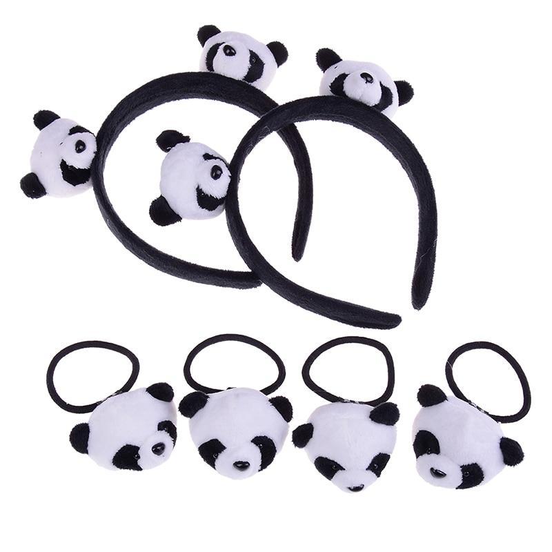 1 Pcs Hair Hoop Or 2pcs Hair Band Little Plush Toys For Hair Band Kid's Party Gift Panda Plush Stuffed Toys