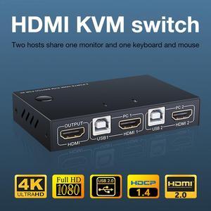 Переключатель KVM HDMI USB, концентратор 4K HDMI, переключатель Box 2 в 1, переключатель для ПК, ноутбука, HDTV, PS4, Xbox с 2 USB-кабелем, 1 HDMI-кабелем