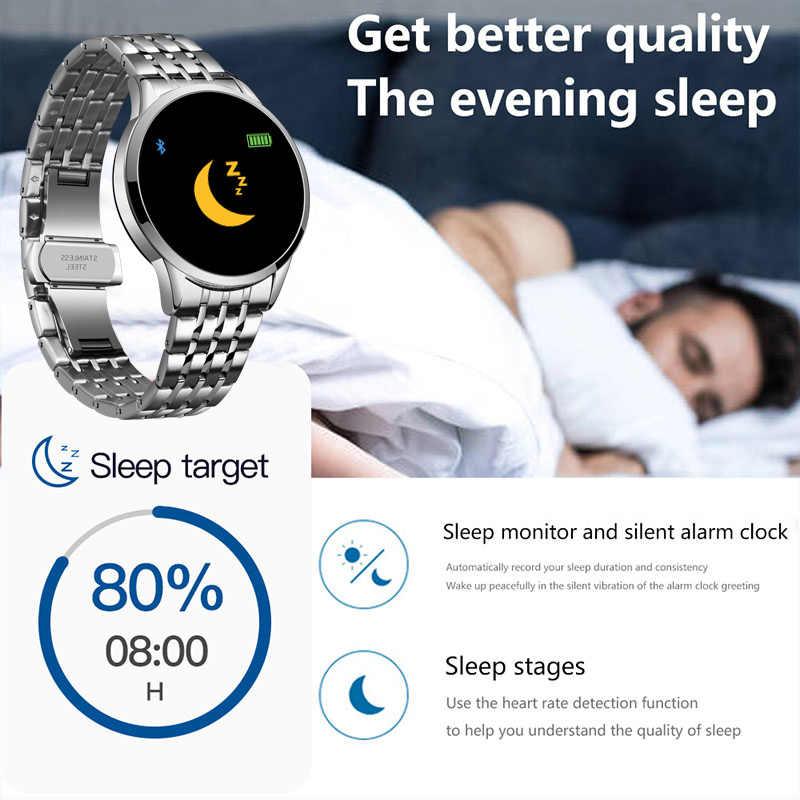 LIGE 2020 جديد حزام ناقل من الفولاذ ساعة ذكية الرجال النساء معدل ضربات القلب ضغط الدم عداد الخطى وضع متعدد الوظائف IP67 مقاوم للماء Smartwatch